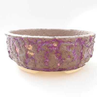 Ceramiczna miska bonsai 18 x 18 x 7 cm, kolor szaro-fioletowy - 1