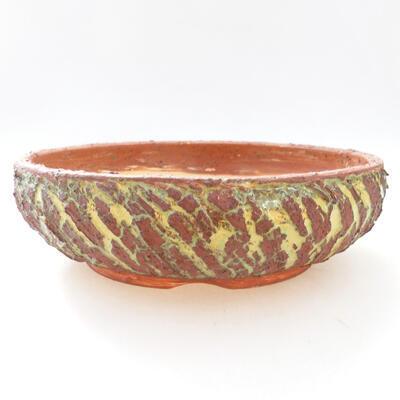 Ceramiczna miska bonsai 20 x 20 x 6 cm, kolor szaro-zielony - 1