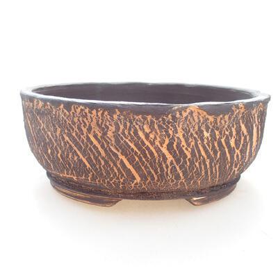Ceramiczna miska bonsai 17,5 x 17,5 x 7 cm, kolor szaro-pomarańczowy - 1