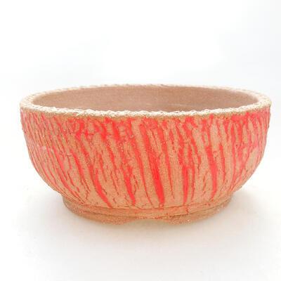 Ceramiczna miska bonsai 14,5 x 14,5 x 6,5 cm, kolor szaro-żółty - 1