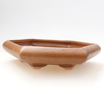 Ceramiczna miska bonsai 13 x 15 x 3,5 cm, kolor brązowy - 1