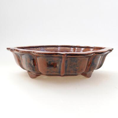 Ceramiczna miska bonsai 16 x 15,5 x 5 cm, kolor brązowo-czarny - 1