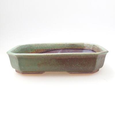 Ceramiczna miska bonsai 12,5 x 17,5 x 4 cm, kolor zielony - 1