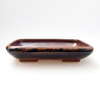 Ceramiczna miska bonsai 15 x 11,5 x 3,5 cm, kolor brązowo-czarny - 1