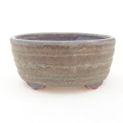 Ceramiczna miska bonsai 10,5 x 9 x 4,5 cm, kolor brązowo-zielony - 1