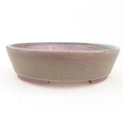 Ceramiczna miska bonsai 14 x 13 x 3,5 cm, kolor brązowo-zielony - 1