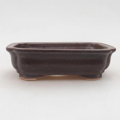 Ceramiczna miska bonsai 14 x 11 x 4 cm, kolor brązowy - 1