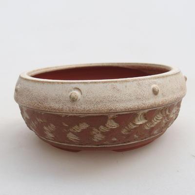 Ceramiczna miska bonsai 14 x 14 x 6 cm, kolor beżowy - 1