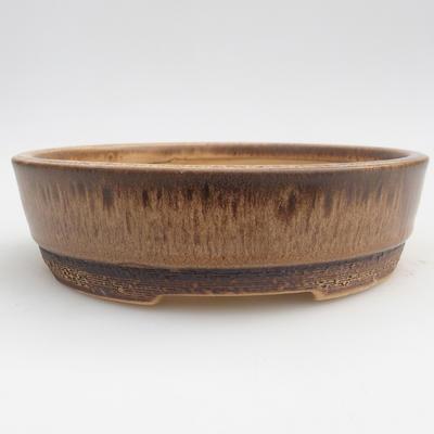 Ceramiczna miska bonsai 15,5 x 15,5 x 4,5 cm, kolor brązowy - 1