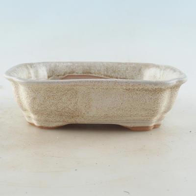 Ceramiczna miska bonsai 16 x 12,5 x 4,5 cm, kolor beżowy - 1