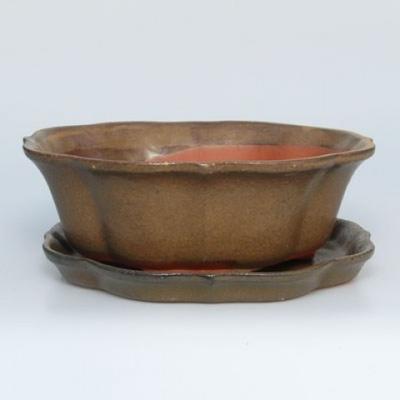 Taca z miską Bonsai H06 - miska 14,5 x 14,5 x 4,5, taca 13,5 x 13,5 x 1,5 cm - 1