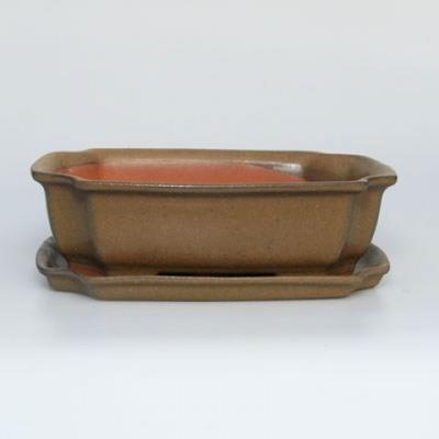 Miska Bonsai + spodek H17 - miska 14,5 x 10,5 x 4,5 cm, spodek 14,5 x 10 x 1 cm - 1
