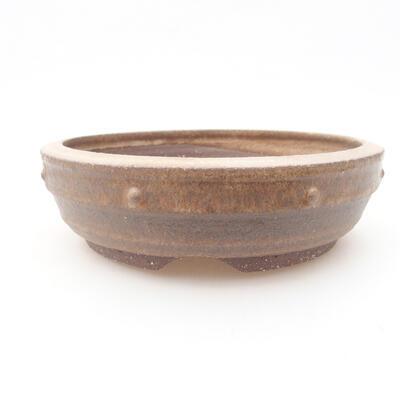 Ceramiczna miska bonsai 17,5 x 17,5 x 5 cm, kolor brązowy - 1