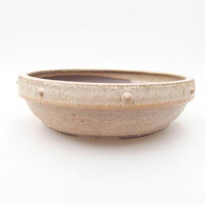 Ceramiczna miska bonsai 17,5 x 17,5 x 5,5 cm, kolor beżowy - 1