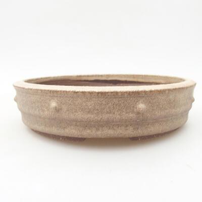 Ceramiczna miska bonsai 18 x 18 x 4,5 cm, kolor beżowy - 1