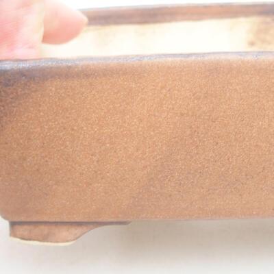 Ceramiczna miska bonsai 14,5 x 11,5 x 4,5 cm, kolor brązowy - 2