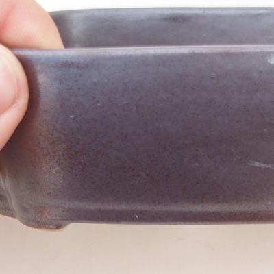Ceramiczna miska bonsai 12,5 x 10 x 4,5 cm, kolor brązowy - 2