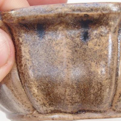 Ceramiczna miska bonsai 11,5 x 11,5 x 4,5 cm, kolor brązowo-beżowy - 2