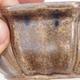 Ceramiczna miska bonsai 11,5 x 11,5 x 4,5 cm, kolor brązowo-beżowy - 2/4