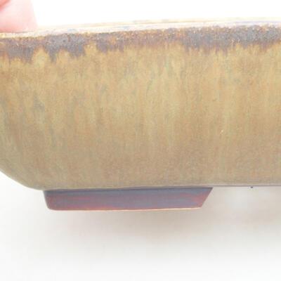 Ceramiczna miska bonsai 20 x 15,5 x 5 cm, kolor brązowo-zielony - 2