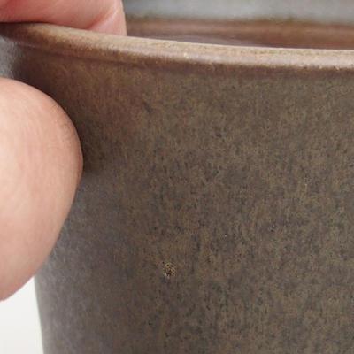 Ceramiczna miska bonsai 9,5 x 9,5 x 10,5 cm, kolor brązowo-zielony - 2