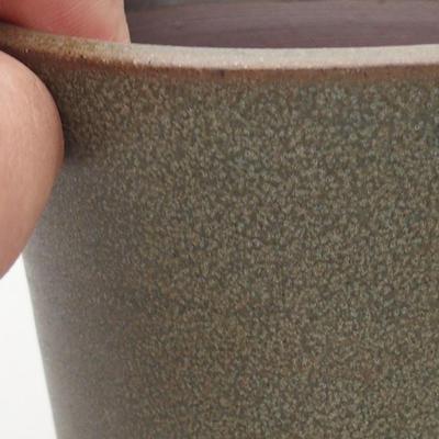 Ceramiczna miska bonsai 9,5 x 9,5 x 10 cm, kolor brązowo-zielony - 2