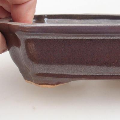 Ceramiczna miska bonsai 15,5 x 12 x 4,5 cm, kolor brązowy - 2