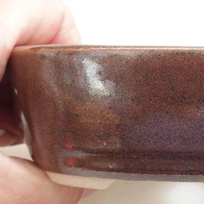 Ceramiczna miska bonsai 12,5 x 8,5 x 3,5 cm, kolor brązowy - 2