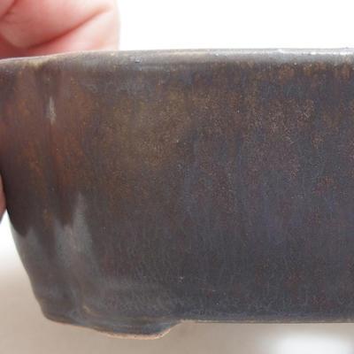 Ceramiczna miska bonsai 12 x 9,5 x 4 cm, kolor metalowy - 2