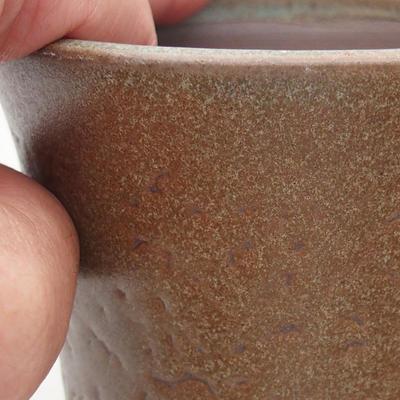 Ceramiczna miska bonsai 9,5 x 9,5 x 10,5 cm, kolor brązowy - 2