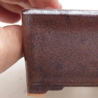 Ceramiczna miska bonsai 8 x 8 x 4,5 cm, kolor brązowy - 2