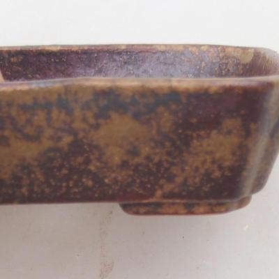 Ceramiczna miska bonsai 12,5 x 9,5 x 3 cm, kolor brązowo-zielony - II gatunek - 2