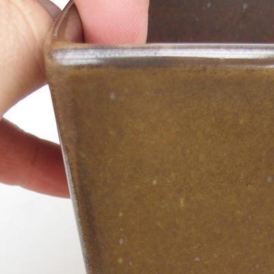 Ceramiczna miska bonsai 2. jakości - 8 x 8 x 10 cm, kolor zielony - 2