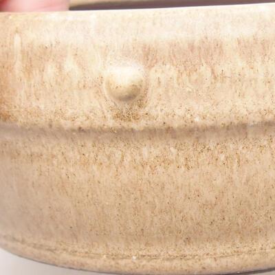 Ceramiczna miska bonsai 13,5 x 13,5 x 5,5 cm, kolor beżowy - 2