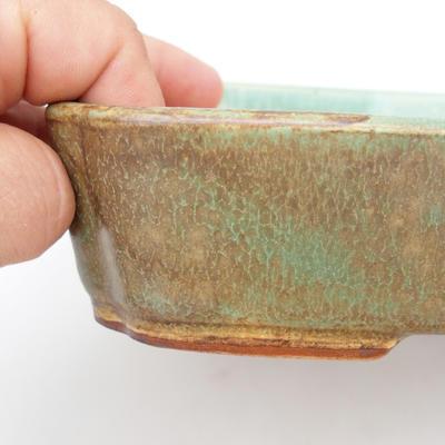 Ceramiczna miska bonsai 2. jakości - 23,5 x 17 x 4,5 cm, kolor brązowo-zielony - 2
