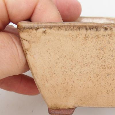 Ceramiczna miska bonsai 2. jakości - 9 x 9 x 5,5 cm, kolor beżowy - 2