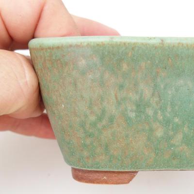 Ceramiczna miska bonsai 2. jakości - 13 x 10 x 5,5 cm, kolor brązowo-zielony - 2