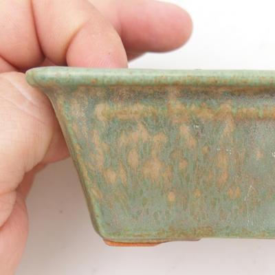 Ceramiczna miska bonsai 2. jakości - 12 x 8 x 4 cm, kolor brązowo-zielony - 2