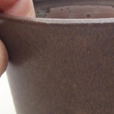 Ceramiczna miska bonsai 9,5 x 9,5 x 9 cm, kolor brązowy - 2