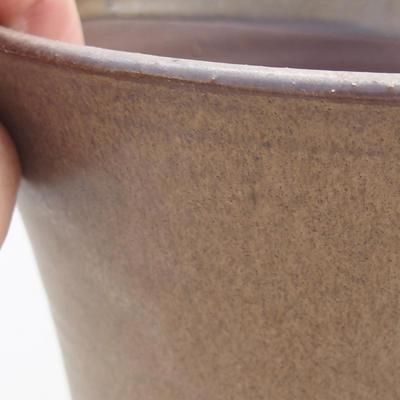 Ceramiczna miska bonsai 14,5 x 14,5 x 16,5 cm, kolor brązowy - 2
