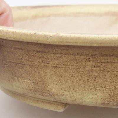 Ceramiczna miska bonsai 28 x 25 x 6 cm, kolor brązowo-żółty - 2