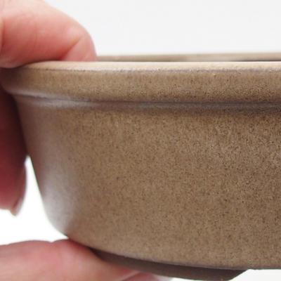 Ceramiczna miska bonsai 15,5 x 15,5 x 4,5 cm, kolor beżowy - 2