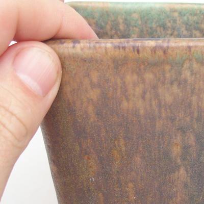 Ceramiczna miska bonsai 8 x 8 x 10,5 cm, kolor brązowo-zielony - 2