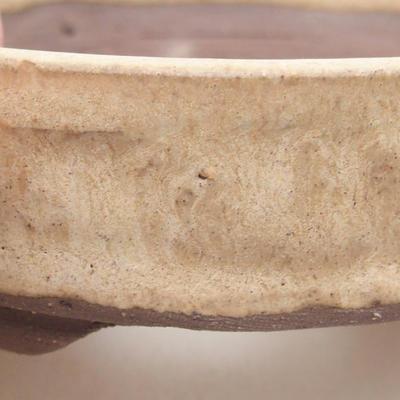Ceramiczna miska bonsai 9 x 9 x 3 cm, kolor beżowy - 2