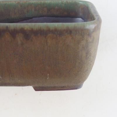 Ceramiczna miska bonsai 16 x 11 x 5,5 cm, kolor brązowo-zielony - 2