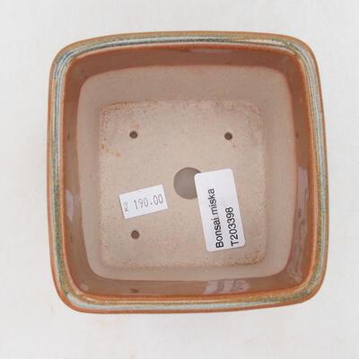 Ceramiczna miska bonsai 10 x 10 x 8,5 cm, kolor szaro-rdzawy - 2