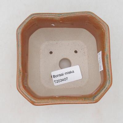 Ceramiczna miska bonsai 10 x 10 x 6,5 cm, kolor szaro-rdzawy - 2