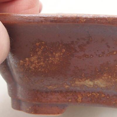 Ceramiczna miska bonsai 14 x 10,5 x 4 cm, kolor brązowy - 2