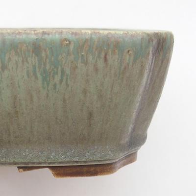 Ceramiczna miska bonsai 20,5 x 17,5 x 6 cm, kolor brązowo-zielony - 2