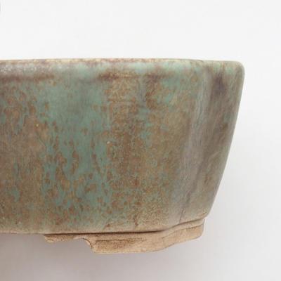 Ceramiczna miska bonsai 17 x 14,5 x 6 cm, kolor brązowo-zielony - 2